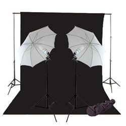 600 Watt Photo Studio Continous Lighting kit, Background Support, and Muslin Background, NEWCB_BWG_600WKIT