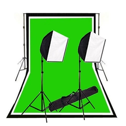 600 Watt Complete Photography and Video Studio Quick Softbox Lighting Kit, Background Support, Black White Chromakey Green 3 Muslin Backdrops, NEWCB_BWG_EZSoftboxKit