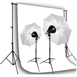 Photo Studio Premium Reflector Umbrella Continuous 500 Watt Lighting kit, Background Support, and Muslin Background, NEWCB_BWG_FL-08 KIT
