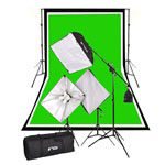 2000 Watt Complete Photography and Video Studio Softbox Continuous Lighting Boom Kit, Background Support, Black White Chromakey Green 3 Muslin Backdrops, NEWCB_BWG_VL-9004S-B6