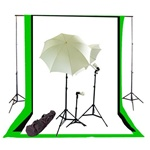 Photo Studio Umbrella Continous Triple Lighting Kit, Background Support, and Black White Chromakey Green 3 Muslin Backdrops, NEWCB_BWG_TRIPLEKIT