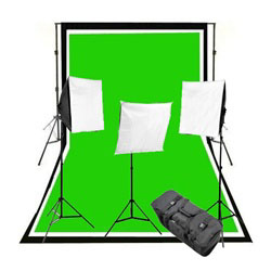 2400 Watt Three Softbox Complete Photography and Video Stuido Continuous Lighting Kit, Background Support, Black White Chromakey Green 3 Muslin Backdrops, NEWCB_BWG_VL9004-3