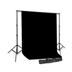 Backdrop Support System with One Color Muslin Backdrop & Carry Case-Black, White, Green or Blue, SUPPORT_BACKGROUND