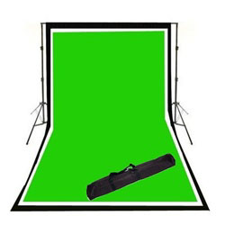 Background Support System with Black White and Green Muslin Backdrops & Carry Case, SUPPORT_BWG