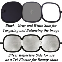 "Photo Studio 12"" Hand Hold Collapsible Disc, Tri-Fold Reflector & Gray Card/White Balance Digital Target Combo, TRI-FOLD GRAY CARD"