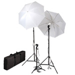 Photo Studio Umbrella Continuous Triple Lighting Kits with Carrying Case, 600 Watt Output, TRIPLEKITCASE